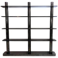 Karl Springer Bronze and Glass Bookcase Wall Unit, 1975