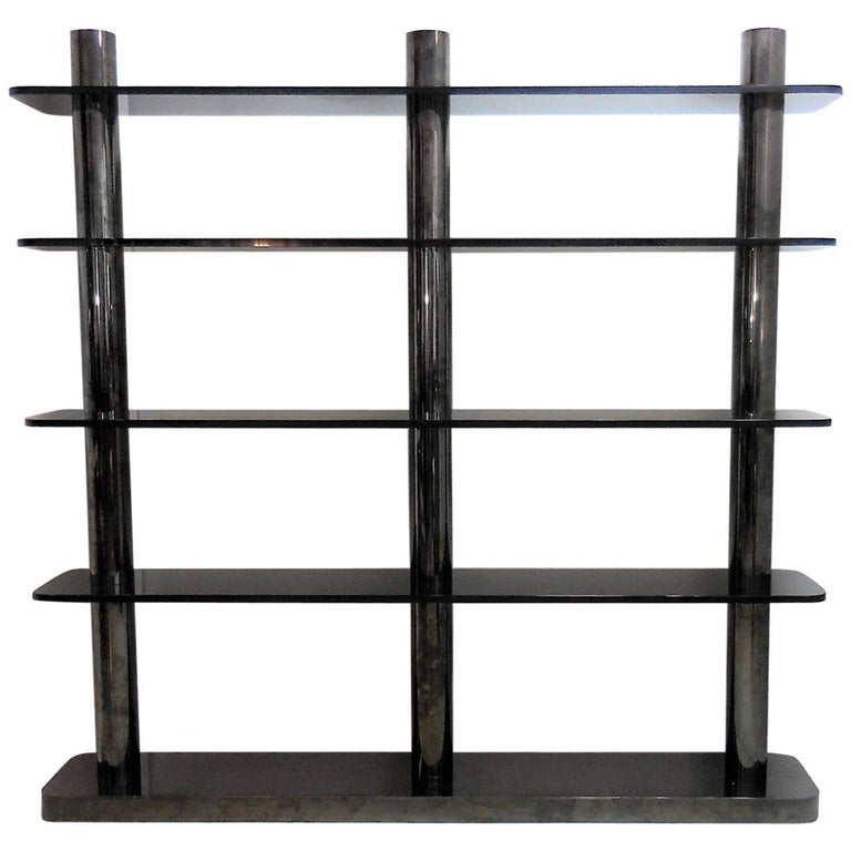 Karl Springer Bronze and Glass Bookcase Wall Unit, 1975 For Sale