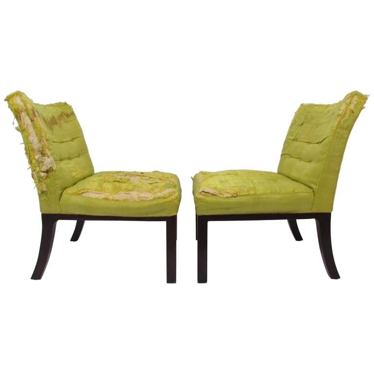 Pair of Edward Wormley for Dunbar Slipper Lounge Chairs, circa 1950s