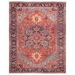 Large Antique Geometric Heriz Persian Rug
