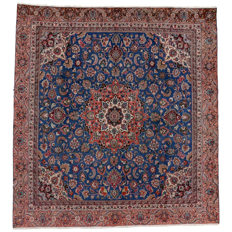 Vintage Persian Tabriz Rug with Traditional Style, Square Tabriz Rug