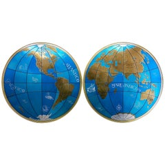 Two Impressive and Huge Midcentury World Map Wall Globes, Austria, 1950s