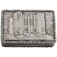 Victorian Silver Castle-Top Vinaigrette 'Kenilworth Castle Keep' F Clark 1841