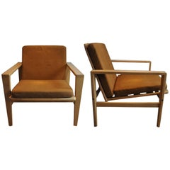 """Pair of Armchair Oak and Leather """"Tornado"""" Eric Merthen, 1960"""