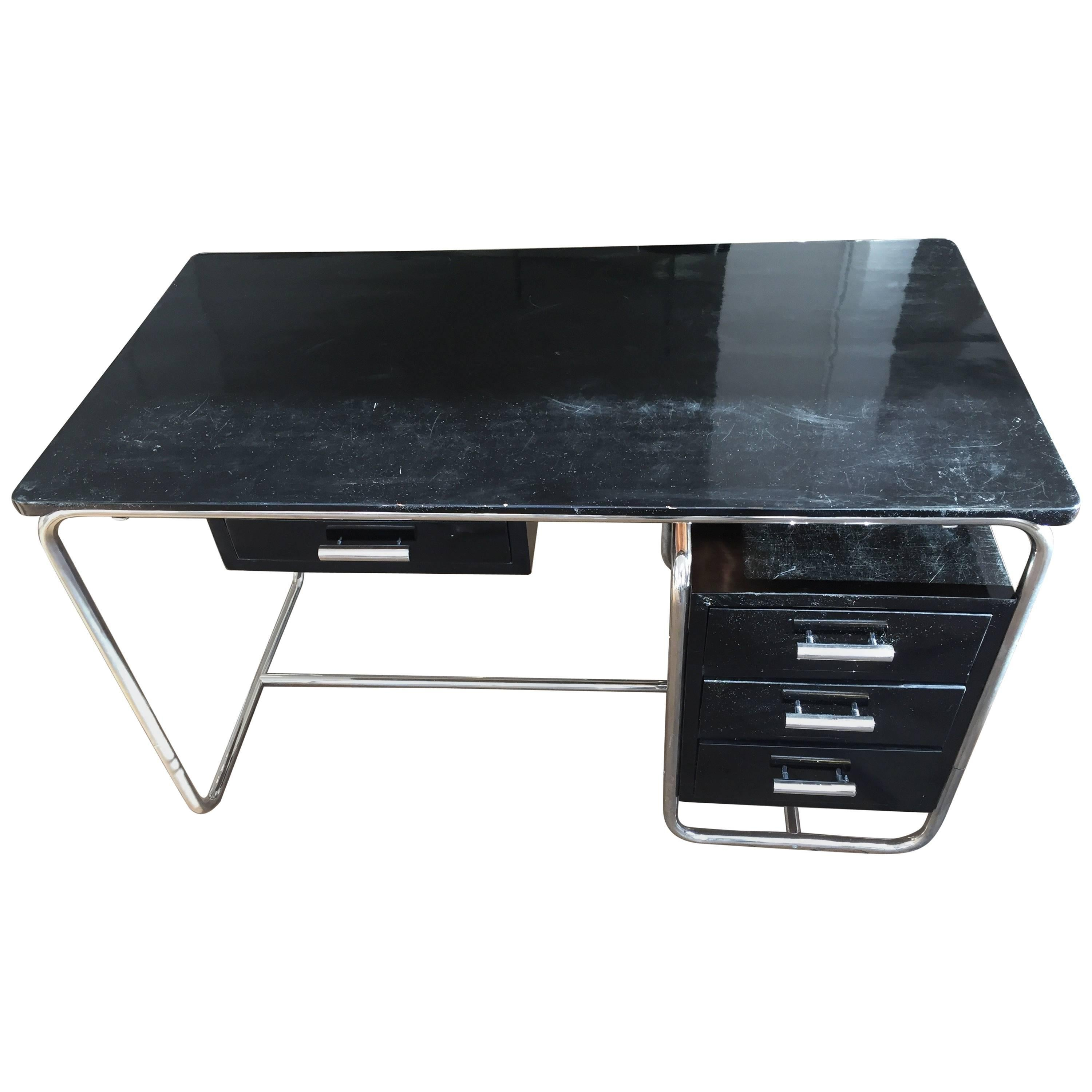Amazing Marcel Breuer Bauhaus Writing Desk With Two Chairs Black Lacquered