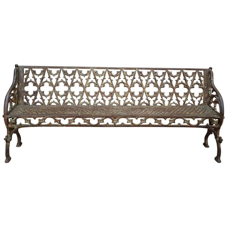 Art Nouveau Cast Iron Garden Bench, circa 1900