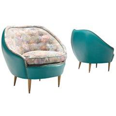Italian Turquoise Club Chairs, circa 1950