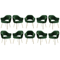 Saarinen Executive Arm Chairs in Emerald Velvet, 24k Gold Edition, Set of 10
