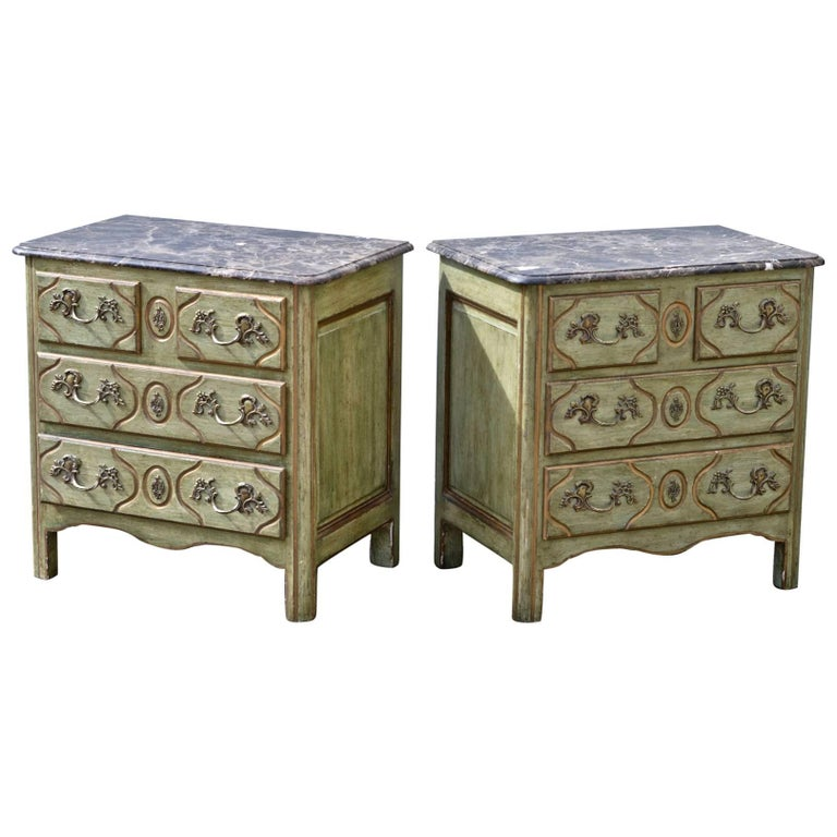 Pair of Painted French Louis XIV Marble Top Chest