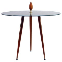 Midcentury Italian Glass and Teak Tripod Side Table, 1950s