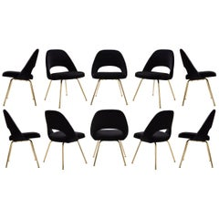 Saarinen Executive Armless Chairs in Noir Velvet, 24k Gold Edition, Set of 10