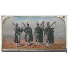 Victorian Silver & Enamel 'Scottish Pipers' Vesta Case, Sampson Mordan, 1900