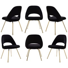 Saarinen Executive Armless Chairs in Noir Velvet, 24k Gold Edition, Set of 6