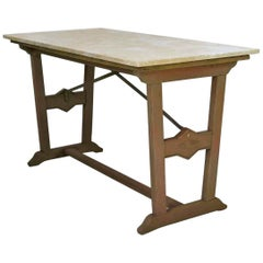 1930s Arts & Crafts Bistro Table with Marble Top from France