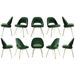 Saarinen Executive Armless Chairs in Emerald Velvet, 24k Gold Edition, Set of 10