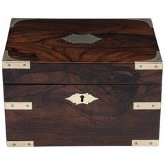Antique Robust Brass Bound Mahogany Jewelry Box, 19th Century