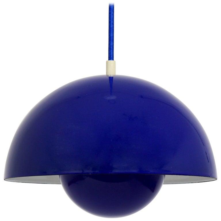 Blue Verner Panton Flowerpot Enameled Pendant Lamp, Louis Poulsen, Denmark, 1969