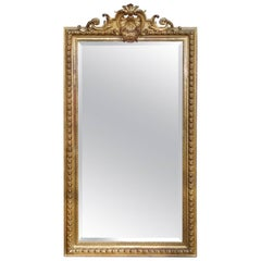 19th Century French Louis Seize Gilded Mirror with Faceted Glass