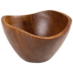 Mid-Century Modern Teak Danish Sculptural and Hand Moulded Bowl, 1960s