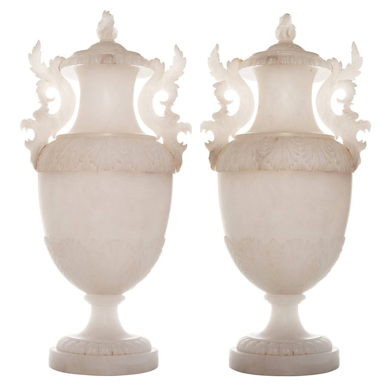 19th Century Pair of Large Italian Alabaster Covered Urns