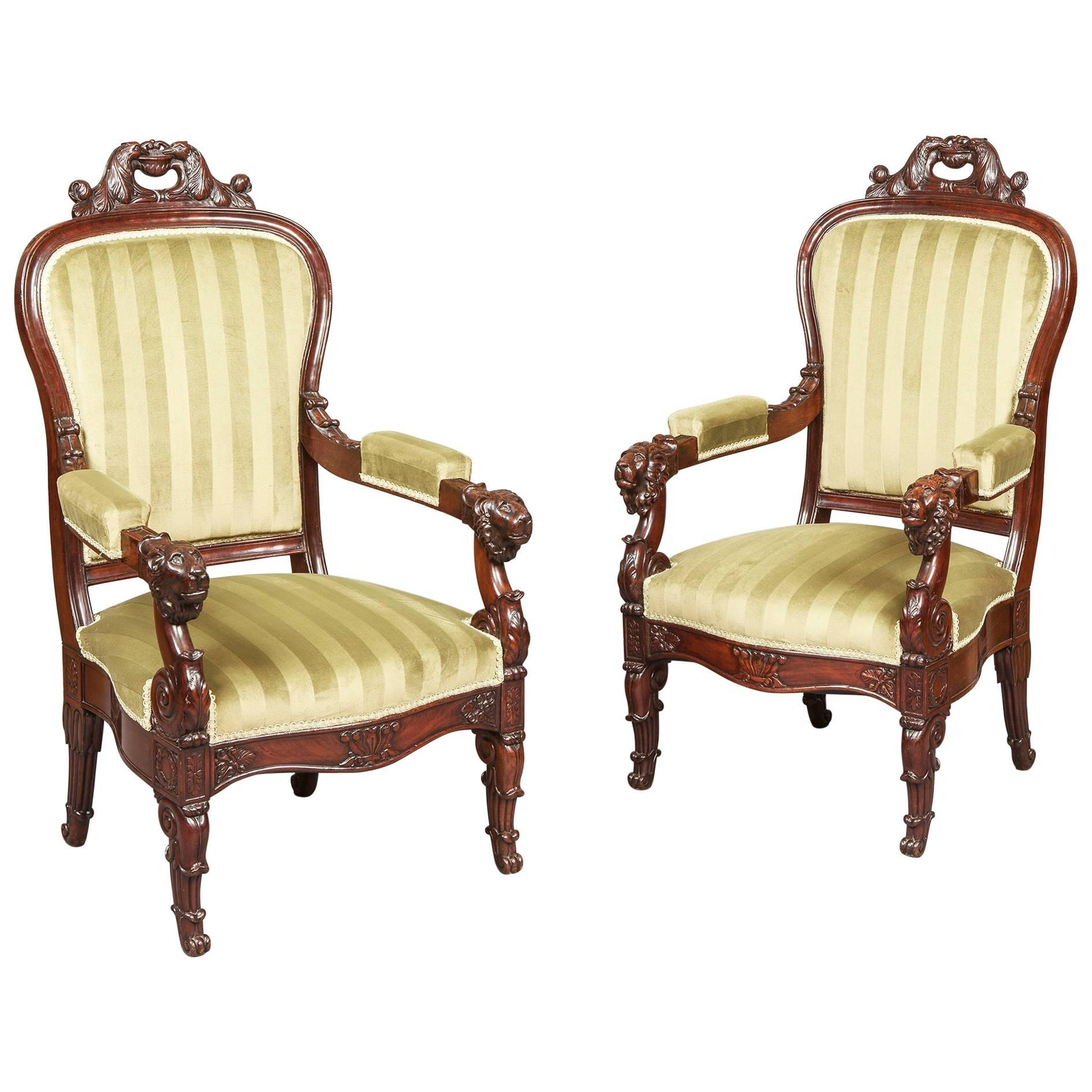 Pair of French Carved Mahogany Armchairs, 19th Century