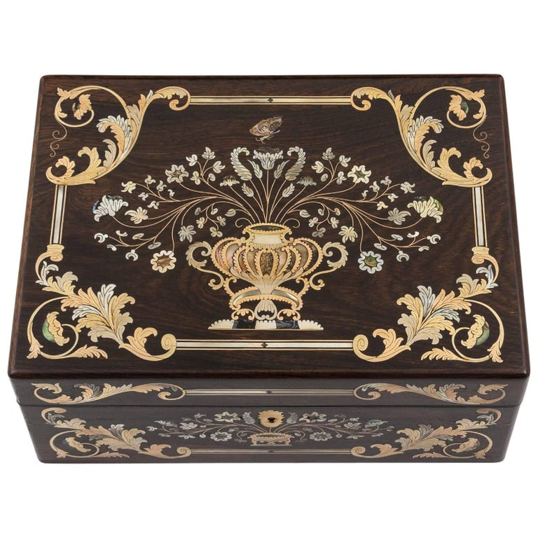 Brass and Mother-of-pearl Inlaid Antique Sewing Box, 19th Century