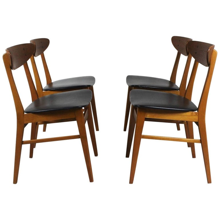 1960s Set of Four Teak Dining Chairs, Denmark