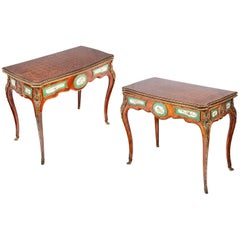 Fine Pair 19th Century Sèvres Mounted Card Tables
