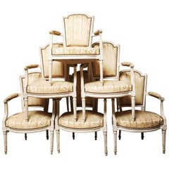 Suite of Six French Louis XVI Fauteuils with a Painted Finish, 18th Century