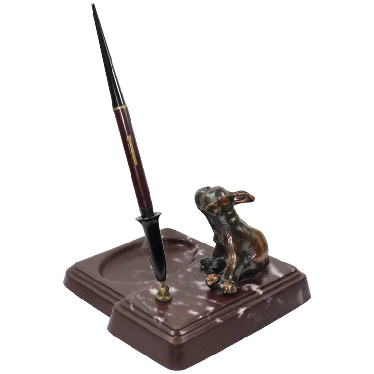 Antique French Bulldog Pen Holder on Marble Base