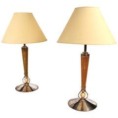Pair of Monumental Shagreen Art Deco Lamps by Petitot Paris