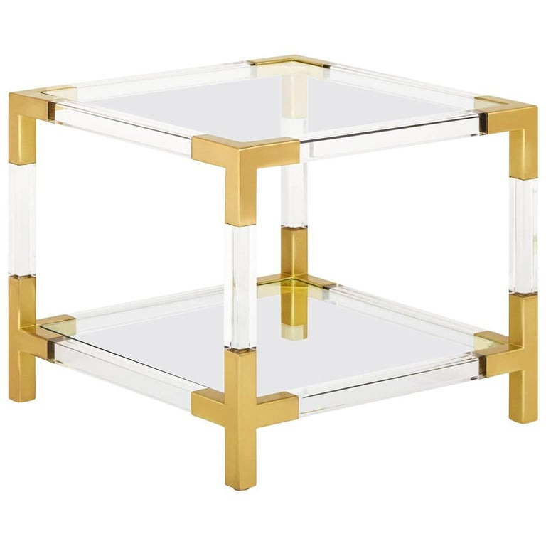 Jacques Lucite and Brass Two-Tier Accent Table