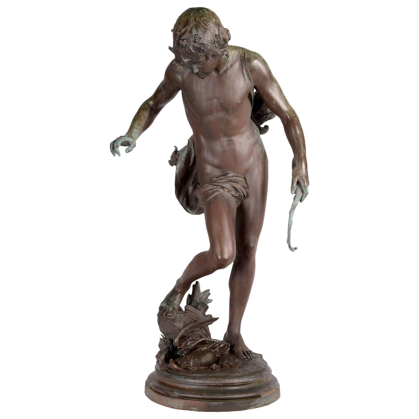 19th Century Bronze Boy Hunter, by Barbedienne