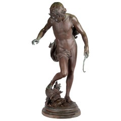 19th Century Bronze Boy Hunter, by Barbedienne