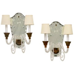 Hollywood Regency Murano Glass Sconces with Etched Mirrors and Brass Accents