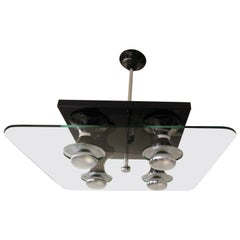 Mid-Century Modern Four-Light Chandelier by Stilnovo, Italy, circa 1970