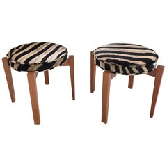 Jens Risom for Ralph Pucci Glasshouse Bench Stools in Zebra Hide, Pair