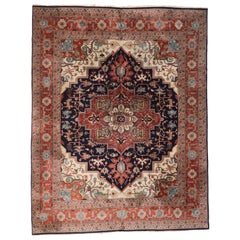 Mid-Century Modern Vintage Persian Heriz Rug with Craftsman Style