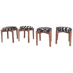 Jens Risom for Ralph Pucci Glasshouse Stools in Zebra Hide, Set of Four