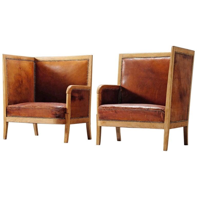 Early Scandinavian Cognac High Back Chairs, circa 1940