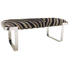 Milo Baughman Chrome Bench Restored in Zebra Hide