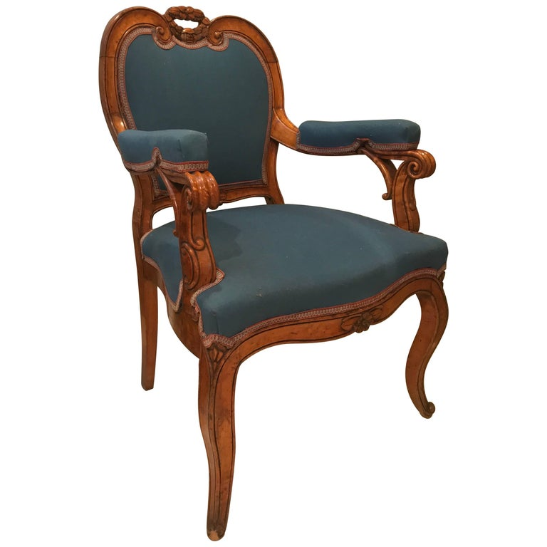 Louis XV Style Armchair, France, 19th Century For Sale