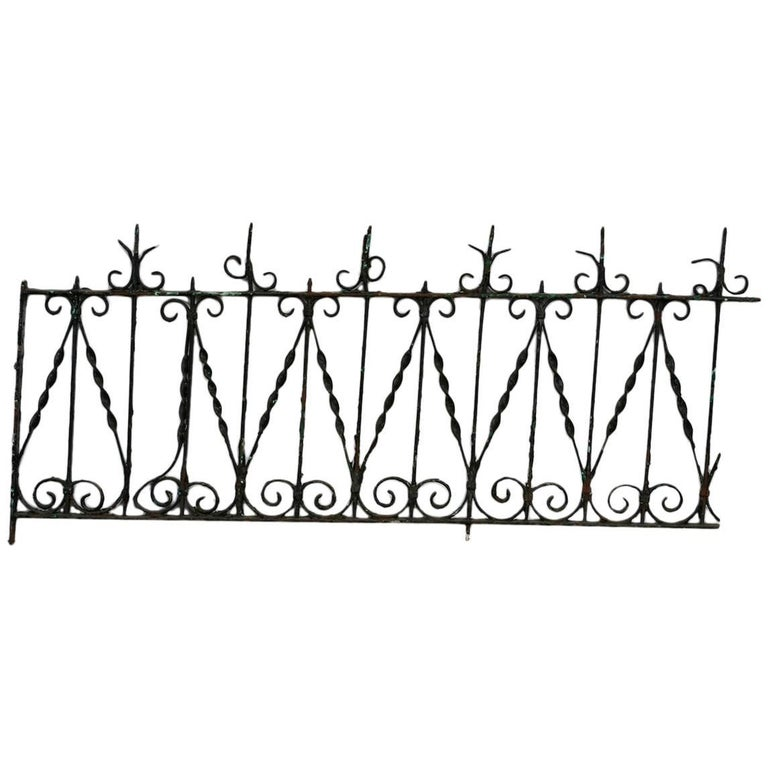 19th Century French Wrought Iron Fence Railing Fragment