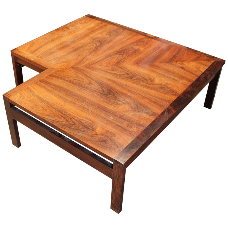 Modern Ole Gørlev Knudsen & Torben Lind Brazilian Rosewood Corner Coffee Table