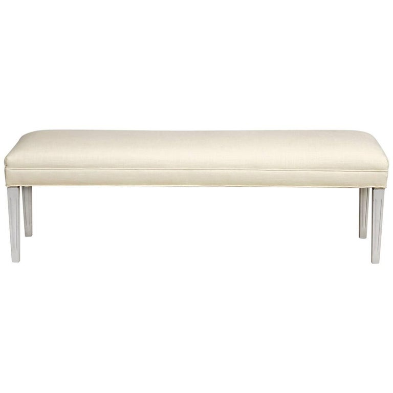 Painted Wooden Window Bench with French Linen Upholstery