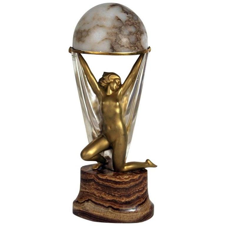 Genie & the Lamp Art Deco Sculptural Lamp by Alexander Kelety