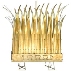 "Light Sculpture ""Planter"" in Gilt Brass, circa 1970"