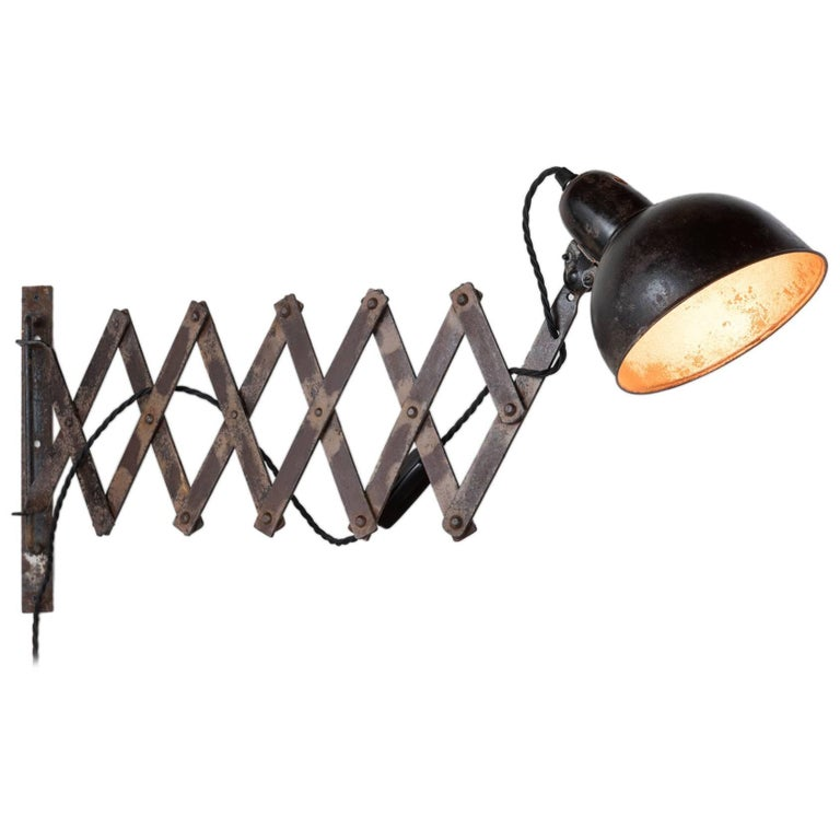 Industrial Scissor Lamp by Kaiser Idell, circa 1930