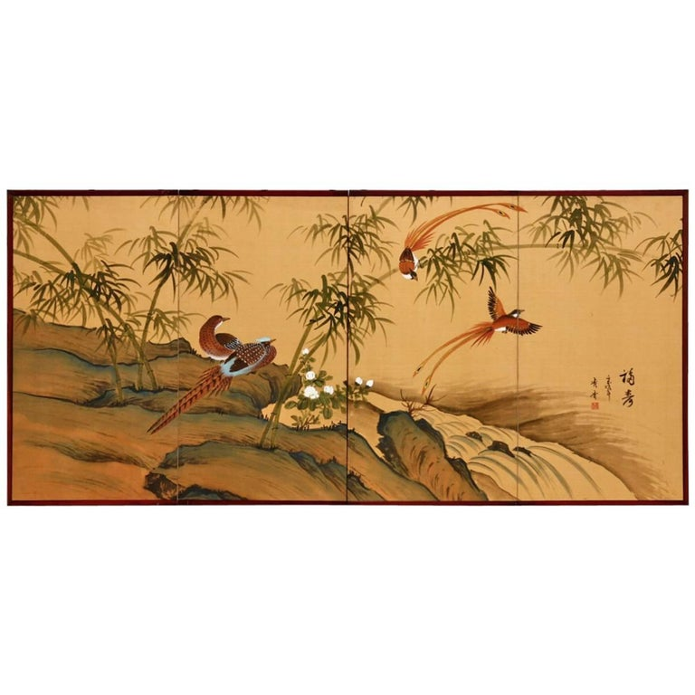 Japanese Four Panel Bamboo and Bird Landscape Screen