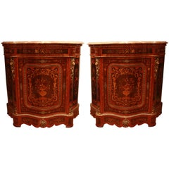 Pair of French Late 19th Century Marquetry Kingwood Cabinets